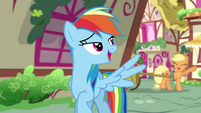 Equestrian Rainbow Dash waving to Applejack EGSB