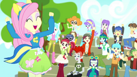 Fluttershy and CHS students cheering SS4