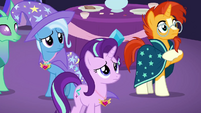 Starlight, Trixie, and Sunburst look concerned S7E1
