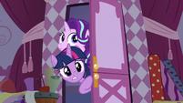 Twilight and Starlight enter Rarity's workroom S7E14