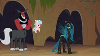 Chrysalis steps in front of Tirek and Cozy S9E8