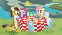 Fluttershy and Pinkie having a tea party S8E18