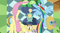 Fluttershy and Rainbow fly in a circle over Zephyr S6E11
