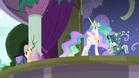 Princess Celestia waving at Fluttershy S8E7