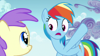 Rainbow Dash pointing at storm clouds S7E14
