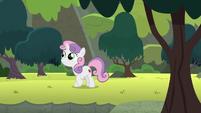 Sweetie Belle exploring Harmonizing Heights S8E6