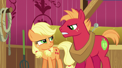 Young Applejack and Big McIntosh glare at each other S6E23.png