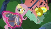 Meadowbrook's mask floats next to Fluttershy S7E20