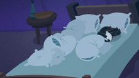 Pillows and Goldie's cat bunched up on bed S8E5