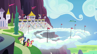 Ponies gather at the Wonderbolts Showcase S7E7