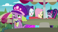 Rarity, Fluttershy, and Twilight laugh at Spike CYOE14b
