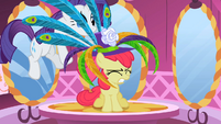 Rarity putting hat on Apple Bloom S2E06