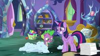 Twilight grins nervously; Spike discouraged S8E11