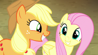 Applejack and Fluttershy smile at each other S8E18