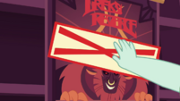 Cashier puts Sold Out sticker on Tirek's Revenge poster EGDS2
