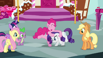 Pinkie Pie ruffling Rarity's mane S4E12