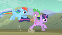 Rainbow Dash flying after Twilight and Spike S01E19