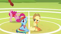 Rainbow and Applejack watch Pinkie have fun S6E18