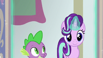 Starlight and Spike enter Twilight's office S8E15