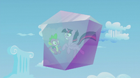 Twilight and Spike frozen in a crystal block S5E25