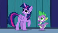 Twilight and Spike look at the indoors of the castle S5E26