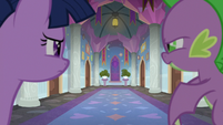 Twilight and Spike looking in the student dorms S8E16