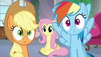 AJ and Rainbow shocked by Fluttershy's suggestion S8E9