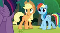 Applejack and Rainbow smile at Twilight S8E9