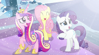Cadance, Fluttershy, and Rarity happy seeing Flurry Heart S6E2