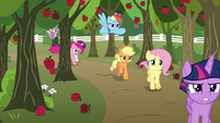 Mane Six racing down the orchard S9E13