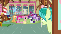 Ponies and Spike looking at Sandbar S8E2