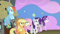 Ponies and Spike see something flickering S8E7