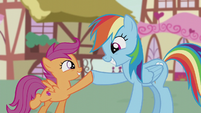 Rainbow Dash and Scootaloo hoof-bump S5E18