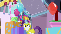 Rarity comes out of the fake present S9E4