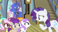 Rarity giving credit to Sweetie Belle S4E19