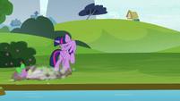 Twilight looks away as Spike crashes S8E24