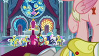 Ponies shocked to see Cozy Glow S9E24