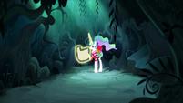 Princess Celestia alone in the forest S9E13