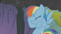 Rainbow Dash places her hoof on her face S1E07