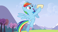 Rainbow happy while holding the letter S3E7