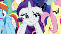 Rarity smiling with exhaustion S9E24
