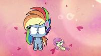 Tiny Fluttershy asks Rainbow for a hug PLS1E2b