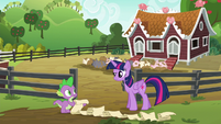 Twilight Sparkle and Spike puzzled S6E10
