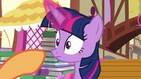 Applejack pointing her hoof at Twilight S8E18