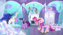 Celestia, Luna, and Cadance bow to Twilight S6E1