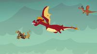 Garble flies toward Flame-cano Island S6E5