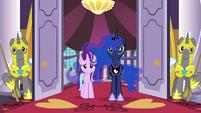Luna and Starlight watch the delegates run away S7E10