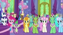 Ponies and changelings in dining hall left side S7E1