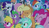 Ponies cheer for Celestia and Luna S4E02