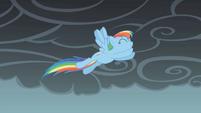 Rainbow Dash jumps through the air S1E07